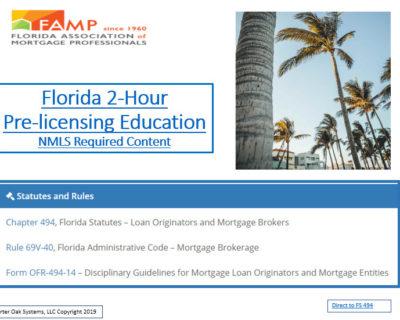 FAMP 2 Hour FLORIDA SAFE NMLS PE ID#10384 Mortgage Loan Originator