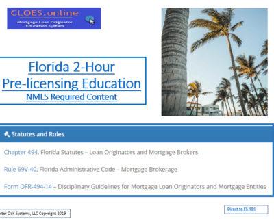 2 Hour FLORIDA SAFE NMLS PE ID#10384 Mortgage Loan Originator