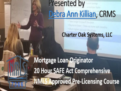 21 Hour Connecticut SAFE NMLS PE ID#7366 Includes CT 1 hour NMLS ID#11080 Mortgage Loan Originator
